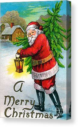 Father Christmas Drawings Canvas Prints