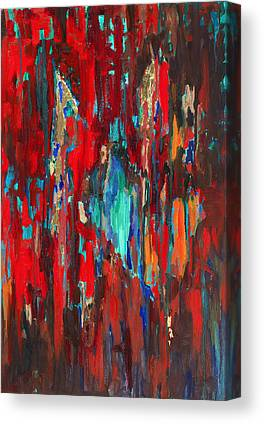 Vertical Red Abstract Art On Canvas Prints