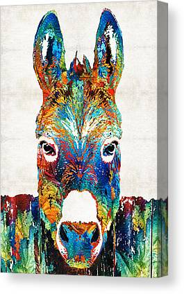 Donkey Paintings Canvas Prints