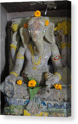 Lord Ganesha At Shiv Temple Canvas Prints