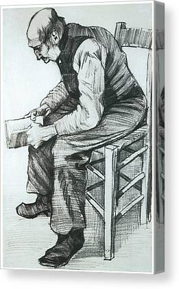 Man Sitting In A Chair Reading The Bible Canvas Prints