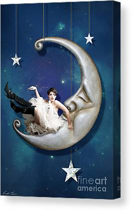 Man In The Moon Digital Art Canvas Prints