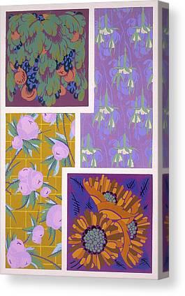 Grape Leaves Drawings Canvas Prints