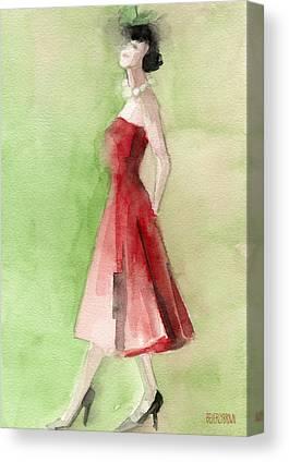 1950s Fashion Paintings Canvas Prints