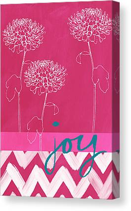 Pink Flowers Mixed Media Canvas Prints
