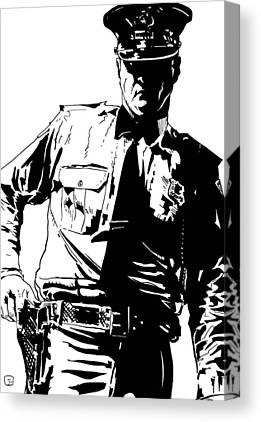 Police Officer Drawings Canvas Prints