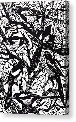 Magpies Drawings Canvas Prints