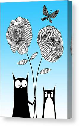 Black And White And Blue Butterfly Canvas Prints