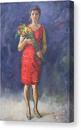Lady In Red Dress Paintings Canvas Prints