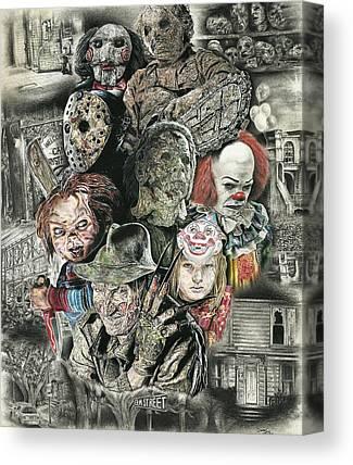 Clown Face Drawings Canvas Prints