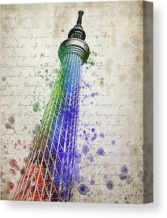 Tokyo Skyline Mixed Media Canvas Prints