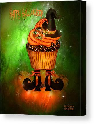 Pumpkin Card Mixed Media Canvas Prints