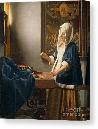 Woman Holding A Balance Canvas Prints