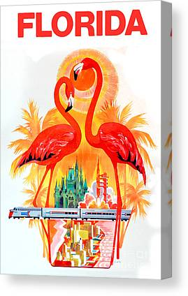 Flamingo Drawings Canvas Prints