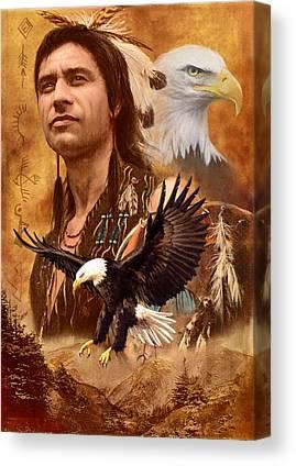 American Indian Spirit Animal Canvas Prints