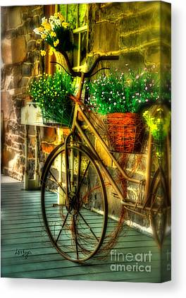Bicycle With Flowers Canvas Prints