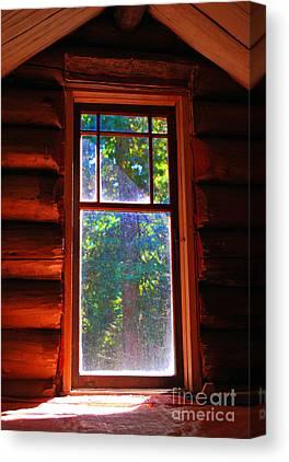 Log Cabin Interiors Mixed Media Canvas Prints