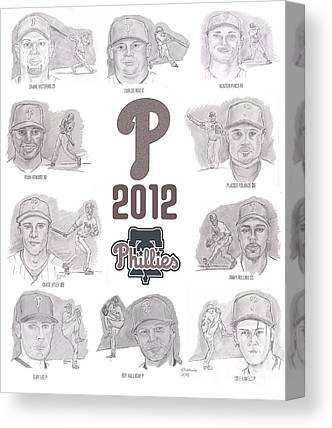 Chase Utley Drawings Canvas Prints