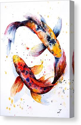Koi Pond Paintings Canvas Prints