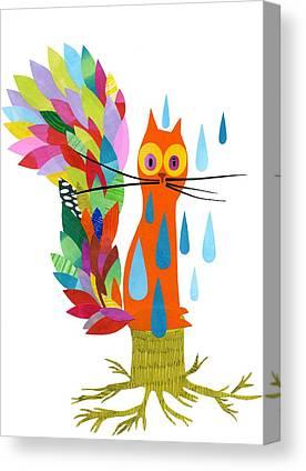 Bushy Tail Mixed Media Canvas Prints