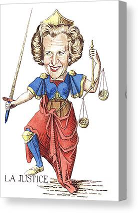 Margaret Thatcher Scales Justice Tarot Caricature Sword Canvas Prints