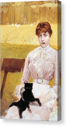 Lady With Cat Canvas Prints