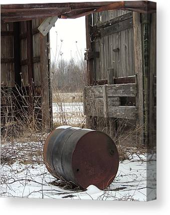Barn And Rusted Barrel Canvas Prints