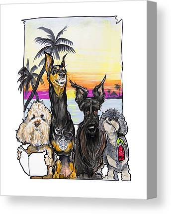 Tropical Sunset Drawings Canvas Prints