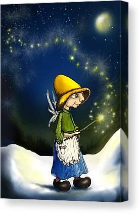 Fairy With Magic Wand Fantasy Art Canvas Prints