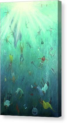Underwater View Paintings Canvas Prints