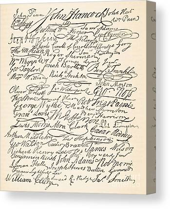 Signatures Attached To The American Declaration Of Independence Of 1776 Canvas Prints