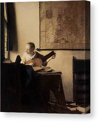 Woman Playing A Lute Canvas Prints