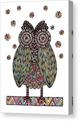 Chevron Owl Canvas Prints