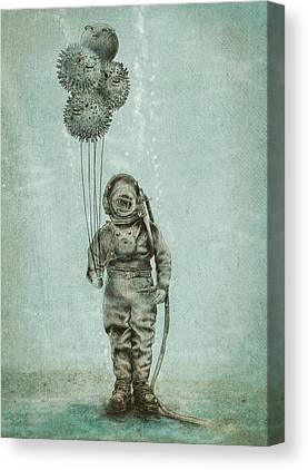 Diving Drawings Canvas Prints