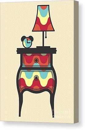 Night Lamp Drawings Canvas Prints