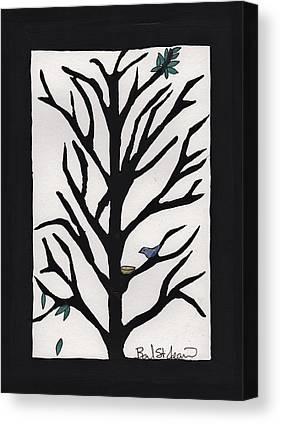 Bluebird In A Pear Tree Canvas Prints
