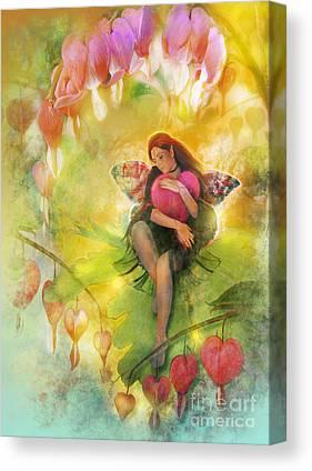 Fairy Hearts Pink Flower Digital Art Canvas Prints