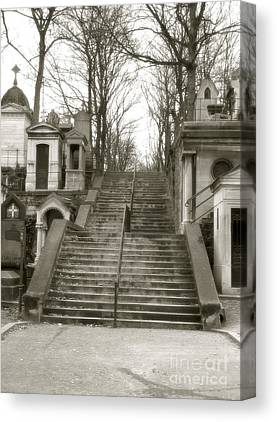 Sepia Paris Art Cemetery Stairs Canvas Prints