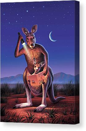 Kangaroos Digital Art Canvas Prints