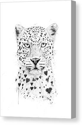 Black Leopard Canvas Prints