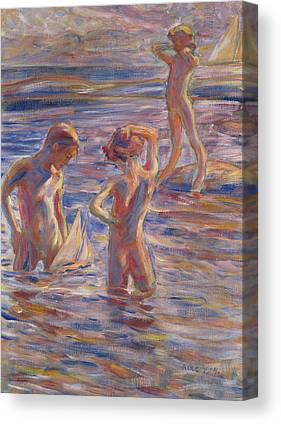 Little Boy In Tide Canvas Prints