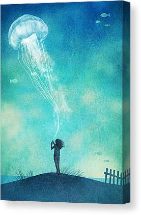 Floating Girl Drawings Canvas Prints