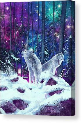 Nature Scene With Moon Canvas Prints