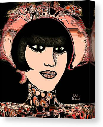 Girl With Peaches Mixed Media Canvas Prints
