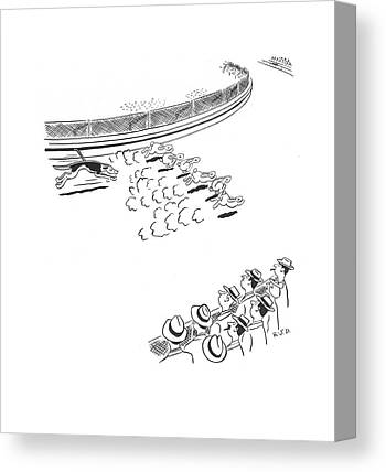 Dog Race Track Drawings Canvas Prints