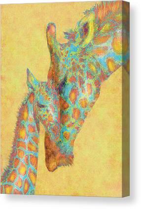 Giraffe Digital Art Canvas Prints