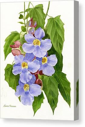 Blue Trumpet Flower Canvas Prints