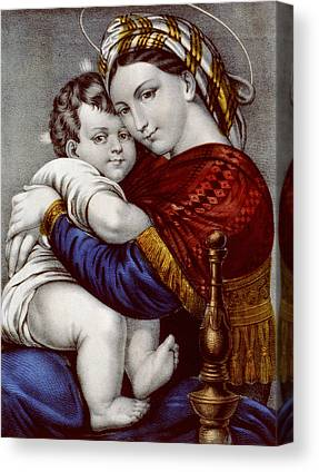 Caring Mother Drawings Canvas Prints