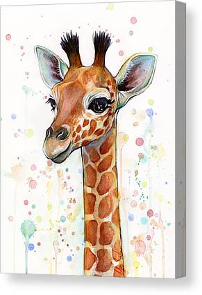 Giraffe Mixed Media Canvas Prints