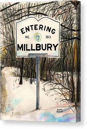 Entering Millbury Canvas Prints